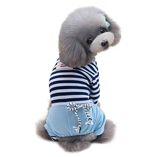 Pet Hoodies HCFKJ Loose Striped Pet Dog Four-Legged Clothes Bowknot Loose Stripe Bandage Dog Clothes (S, (Reindeer Chihuahua Costume)