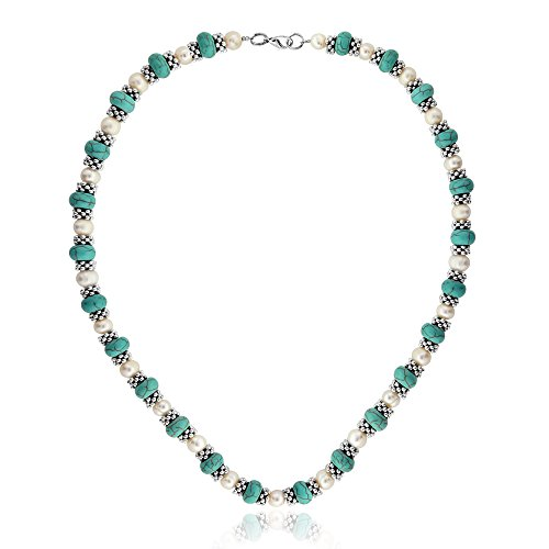 Gem Stone King 18inches Simulated Turquoise Howlite & Cultured Freshwater Pearl & Spacers Necklace + - http://coolthings.us