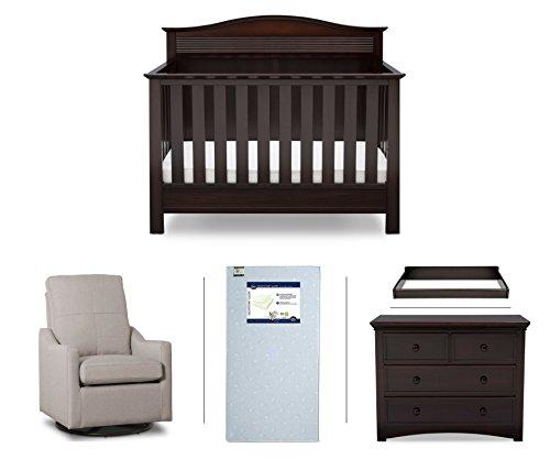 Serta Barrett 5-Piece Nursery Furniture Set (Serta Convertible Crib, 4-Drawer Dresser, Changing Top, Serta Crib Mattress, Glider), Dark Chocolate/Beige