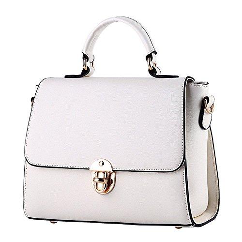 QCKJ-Borsa a spalla da donna, borsetta Siold PU, colore: bianco