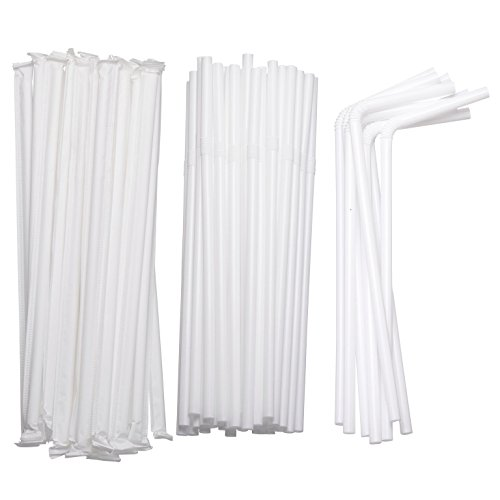 Flexible Drinking Straws in Bulk for Cold Hot Drinks Parties 7 3/4 Inches Long Individually Wrapped & Disposable, White in Color & Food-Safe BPA-Free Plastic eDayDeal HomeGoods (1 Pack/400 Straws) -