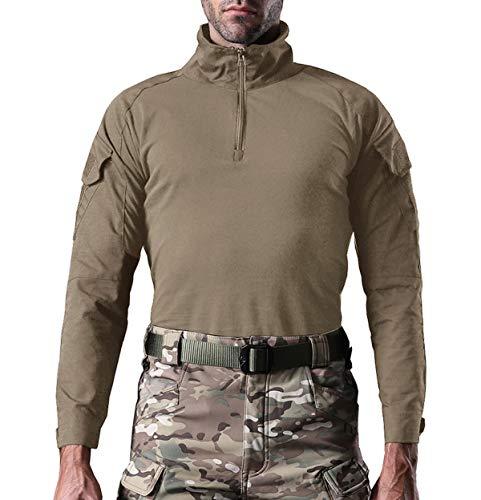 KEFITEVD Chemise de Combat Homme Chemise Camouflage Militaire Tactique T-Shirt Slim Fit Chemise à Manches Longues 5