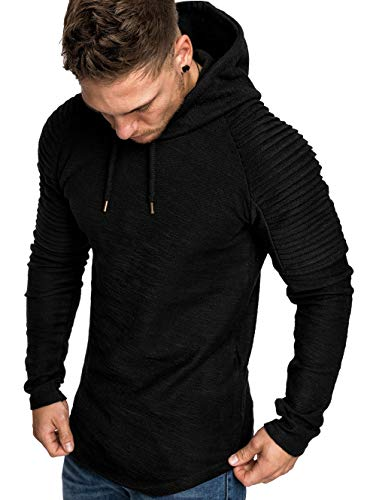 Cromoncent Mens Casual Solid Hooded Drawstring Sport Pullover Sweatshirt