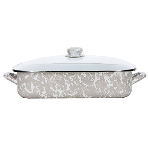 Enamelware -Taupe Swirl Pattern -16 x 12.5 x 4 Inch Lasagna Pan Set by Golden Rabbit
