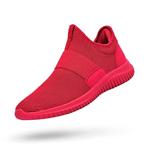 394b10cb0d0bf Sunnycree Mens Sneakers Slip-on Running Walking Shoes Flyknit Lightweight  Workout Gym Shoes Red Size 7