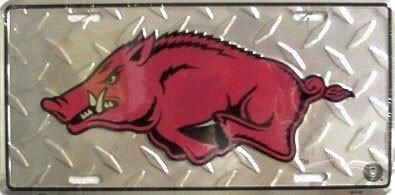 Ncaa Arkansas Razorbacks Diamond Plate - Arkansas Razorbacks Collegiate Diamond Embossed Metal Novelty License Plate Tag Sign 2571
