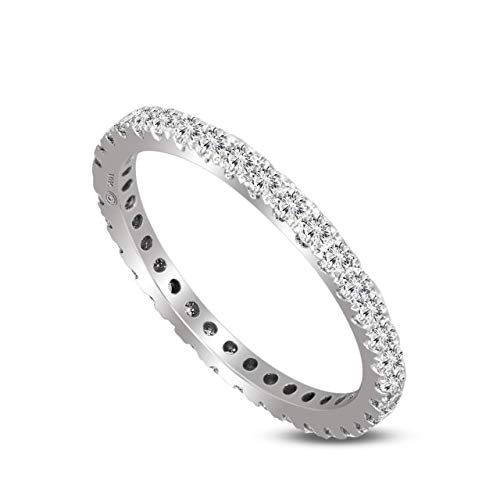 (100% Pure Diamond Ring Eternity Band Diamond Ring 5/8 ct IGI Certified Lab Grown Diamond Engagement Rings For Women SI1-SI2-GH Quality 14K Real Diamond Band Rings Size-7)