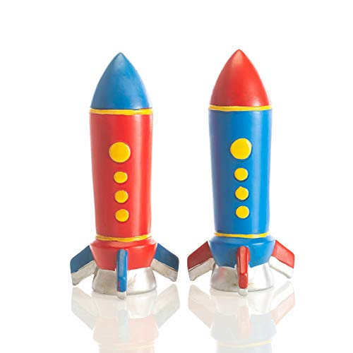 Set of 2 Kids Red and Blue Rocket Ship Coin Banks