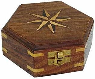 maritime Caja de madera/baúl/Cofre del Tesoro – Marquetería/latón bisagras de 13 cm de hexagonal: Amazon.es: Juguetes y juegos