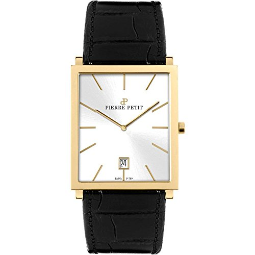 Pierre Petit Men's P-789C Serie Nizza Yellow-Gold PVD Square Case Black Genuine Leather Watch