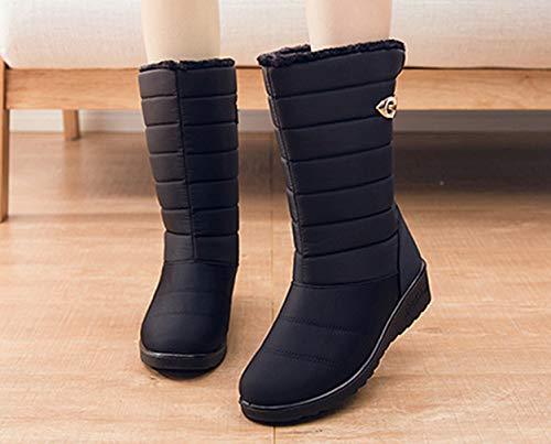 Femme Chaud Imperméable Noir D'hiver Gemvie Antidérapant Fourrure Bottines Bottes Doublure Neige Polaire Chaussures De fwzUAq