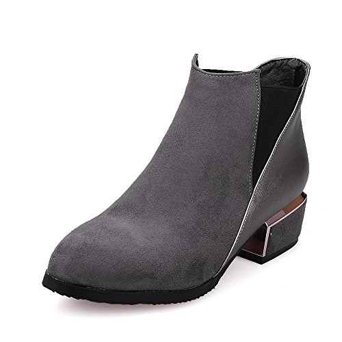 AdeeSu Ladies Anti-Skidding Bottom Kitten-Heels Mule Frosted Boots Gray RGNPgbsK