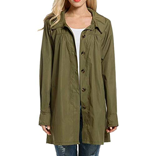 Tasche Lunga Giovane Con Autunno Anteriori Pioggia Breasted Women Monocromo Armygreen Outdoor Elegante Giubbino Giaccone Moda Jacket Bavero Manica Antivento Donna Cappuccio Yasminey Mantello Single P5aqwOP