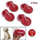 Como 2 Pairs Pet Dog Detachable Closure Red Mesh Vamp Nonslip Sandals Shoes Size 3, My Pet Supplies