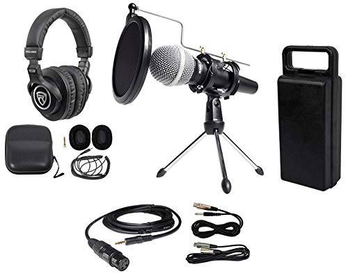 (Rockville PC Podcasting Podcast Streaming Bundle w/Microphone+Stand+Headphones)