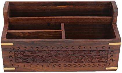 dise/ño de estilo marroqu/í Organizador de escritorio de madera tallado a mano Stylla London Sheesham