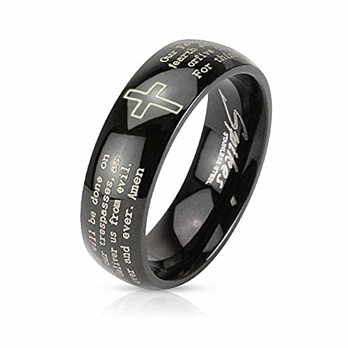 U2U Jewelry Stainless Steel IP with Cross and Lords Prayer Dome Band Ring For Men Women(Traditional Edition/2 Colors/9 Sizes) (Black, 8)