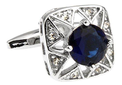 MRCUFF Square Shape Navy Blue Round Crystal Pair Cufflinks in a Presentation Gift Box & Polishing Cloth Blue Round Cufflinks