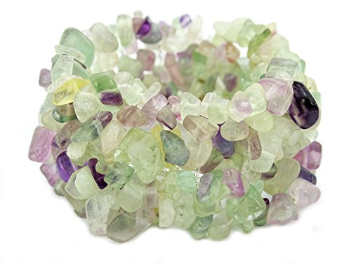 jennysun2010 30mm Wide Natural Fluorite Gemstone Chip Nugget Beaded Fashion Stretchy Bracelet Healing 1 Strand 6'' Inches Wrist