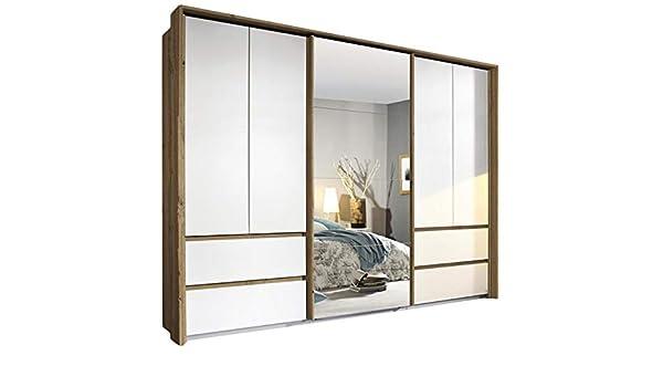 Armario con puertas correderas (5 puertas, 278 cm de ancho), color marrón y blanco: Amazon.es: Hogar