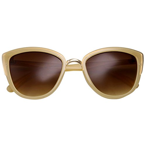 - grinderPUNCH Womens Flash Color Mirror Lens Oversized Cat Eye Sunglasses Cream