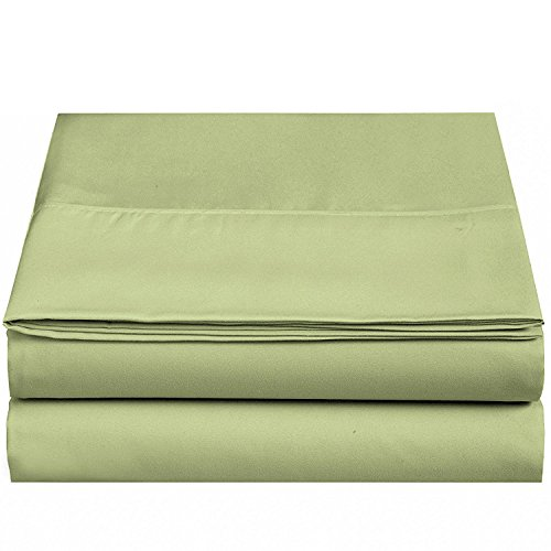 - 4U LIFE Flat Sheet-Ultra Soft & Comfortable Microfiber-Green,Queen