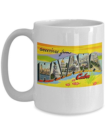 Greetings from Havana Cuba, Vintage Large Letter Postcard Design: Ceramic Coffee Mug - Havana Coffee
