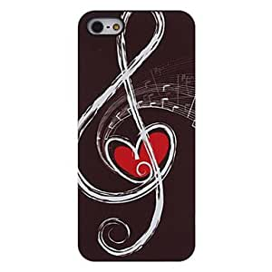 Bkjhkjy Musical Notes with Red Heart inside Pattern Aluminum Hard Case for iPhone 5/5S