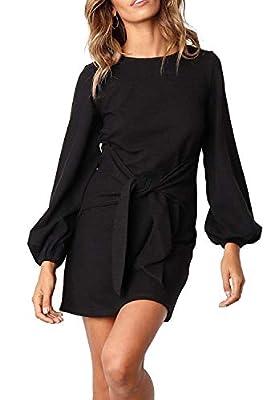Kesujin Women Black Casual Puff Long Sleeves Dresses Crew Neck Tie Knot Elegant Mini Dress