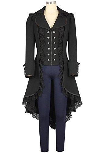 obtai Women's Gothic Tailcoat Steampunk Jacket Tuxedo Suit Coat Victorian Costume