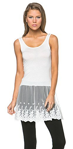 Tank Top Lace Bottom Dress Large Ivory ()