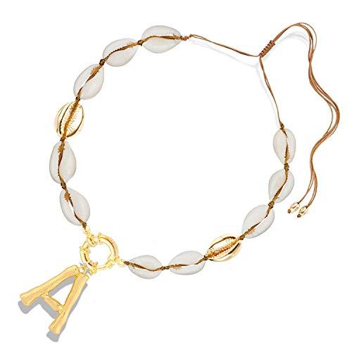 Balalei 26 Letters Pendant DIY Letter Pendant Necklace Boho Natural Cowrie Shell Necklace for Women Bohemian Necklaces Femme ()