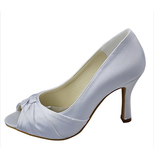 Minitoo GYAYL002 Womens Stiletto High Heel Open Toe Satin Evening Party Bridal Wedding Bowknot Shoes Sandals White 5c6v8Qe7b