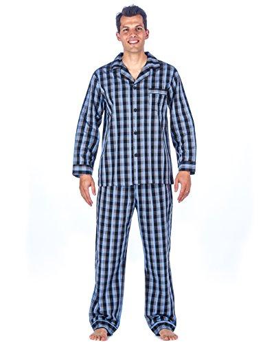 Mens 100% Cotton Woven Pajama Sleepwear Set - Plaid Blue/Grey - X-Large (Plaid Set Cotton Pajama)