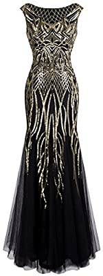 Angel-fashions Women's Pattern Sequin Bateau Cap Sleeve Flapper Mermaid Evening Dress