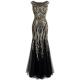 Angel-fashions Women's Pattern Sequin Bateau Cap Sleeve Flapper Mermaid Evening Dress Medium Gold Black