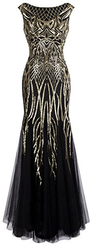 Angel-fashions Women's Pattern Sequin Bateau Cap Sleeve Flapper Mermaid Evening Dress Large Gold Black