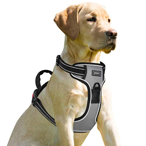 Petacc Dog Harness No-Pull Pet Harness Adjustable Outdoor Pet Reflective Vest Dog Walking Harness with Postpositive D-Ring Buckle for Dogs ()