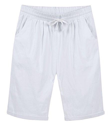 Chartou Women's Casual Elastic Waist Knee-Length Curling Bermuda Shorts (X-Larger, White) ()