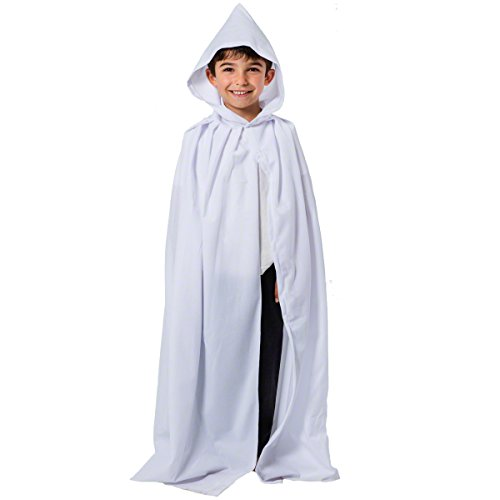White Cloak or Cape with Hood for Kids 7-9 -