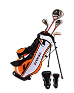"""Distinctive Right Handed Junior Golf Club Set for Age 3 to 5 (Height 3' to 3'8"""") Set Includes: Driver (15""""), Hybrid Wood (22, 7 Iron, Putter, Bonus Stand Bag & 2 Headcovers (Renewed)"""