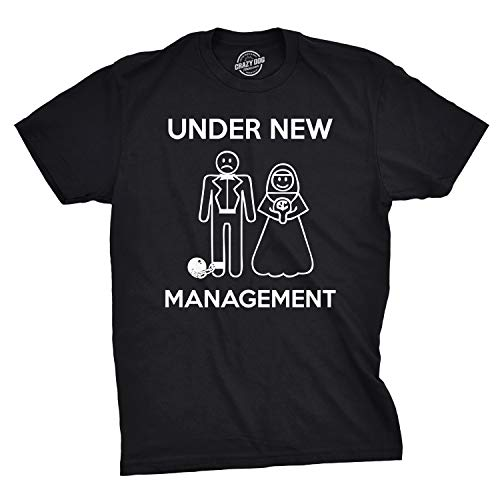 - Mens Under New Management Funny Wedding Bachelor Party Novelty Tee for Guys (Black) - XL