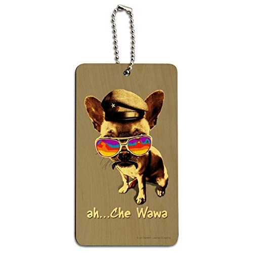 (Ah Che Wawa Chihuahua Dog Vintage Retro Wood Luggage Card Carry-On ID Tag)
