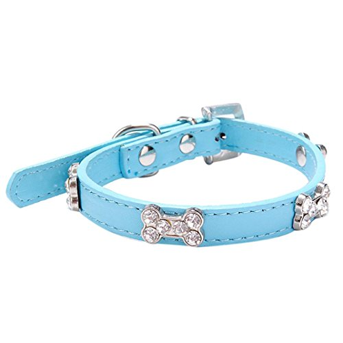 Kim88 2018 Hot Dog Collar Bling Crystal With Bone Necklace Pet Puppy Cat (M, Blue) Crystal Bone Leather