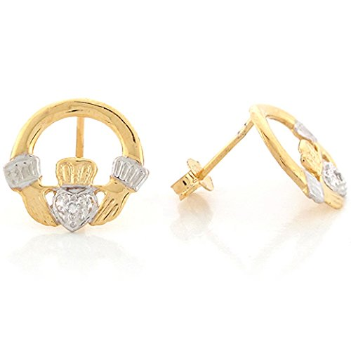14k Real Two Tone Gold Diamond Accent Irish Claddagh 1.3cm Post Earrings