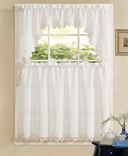 3-Piece Orchard Macrame Lace Complete Tier Curtain and Swag Set, 54 by 36-Inch, (Macrame Lace Curtains)