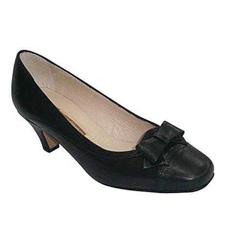 Negro Con Medio Lazo Empeine En El Zapatos Tacón Pomares Vazquez 6qpzSS