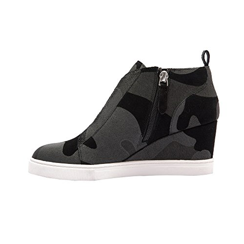 affordable cheap price discount the cheapest Linea Paolo Felicia | Women's Platform Wedge Bootie Sneaker Leather Or Suede Black/Grey Camouflage Printed Suede eaIAf