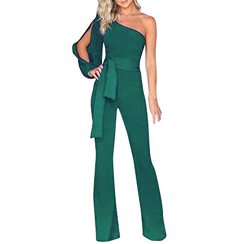 general3 Women Solid Jumpsuit Slanted One Shoulder Long Sleeve Casual Clubwear Wide Leg Pants Playsuit Green