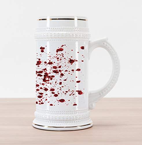 Halloween Themed Beer (Ambesonne Horror Beer Stein Mug, Splashes of Blood Grunge Style Bloodstain Horror Scary Zombie Halloween Themed Print, Traditional Style Decorative Printed Ceramic Large Beer Mug Stein, Red)